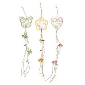 Set 3 Campanelli In Legno Con Farfalle E Fiori