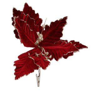 Fiore Decorativo Amaranto Con Glitter Oro E Clip
