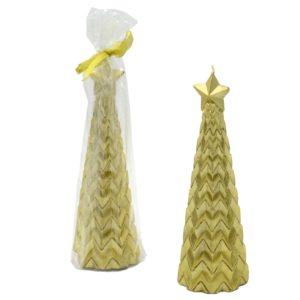 Candela Forma Albero Color Oro Stella Con Glitter