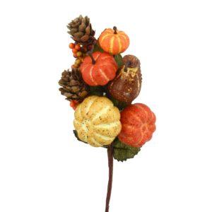 Ramo Decorativo Con Zucche Pigne E Bacche