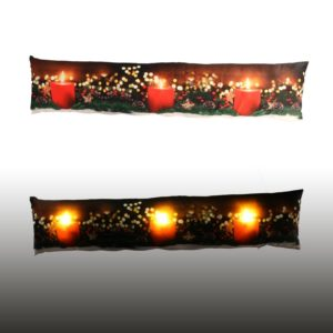 Paraspifferi In Tessuto Con LED Fantasia Candele Rosse