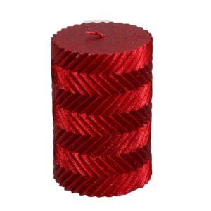 Candela Cilindrica Rossa Con Decori E Glitter