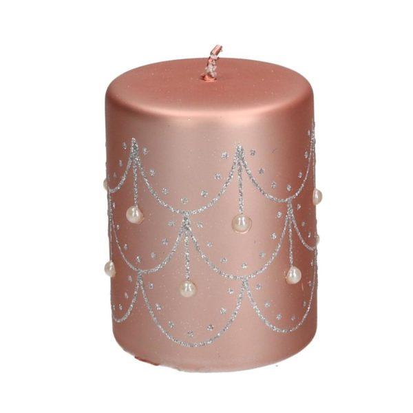 Candela Natalizia Tonda Rosa Laminata Con Perline