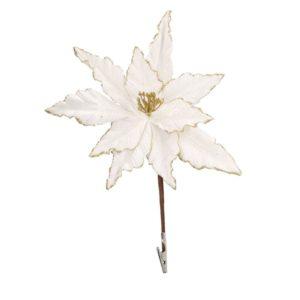 Fiore Stella Natale Bianco Ed Oro Con Clip E Glitter