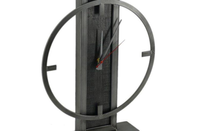 Orologio Da Tavolo In Metallo E Legno