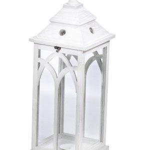 Lanterna Quadrata In Legno Bianco Con Vetro