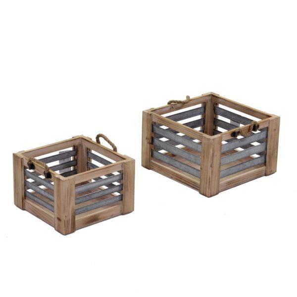 Set Cassetti Quadrati Marroni In Legno Con Manici