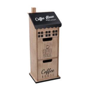 Portatutto In Legno Con 2 Cassetti Verticale Linea Coffee House