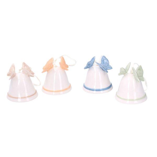 Set 4 Campanelli In Ceramica Con Farfalle Rotondi Assortiti