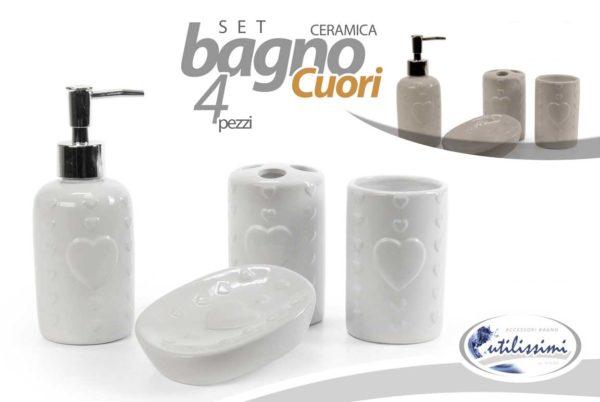 Set Per Bagno In Ceramica 4 Pezzi