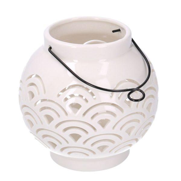 Lanterna Rotonda In Ceramica Bianca Traforata