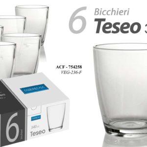 Set 6 Bicchieri In Vetro Linea Teseo