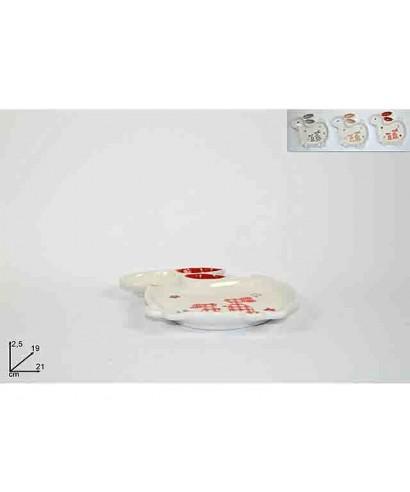 Set 3 Piatti In Ceramica Coniglio Con Decoro
