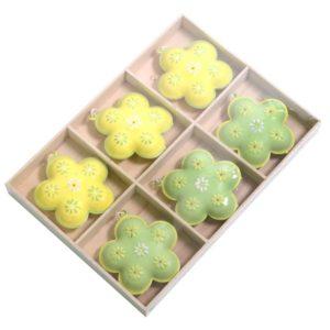 Set 6 Decorazioni Fiore Metallo Giallo E Verde