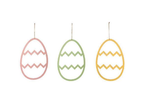 Set 3 Decorazioni Uovo In Legno Con Decori