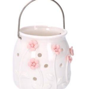 Lanterna Tonda Bianca In Ceramica Con Fiori Rosa
