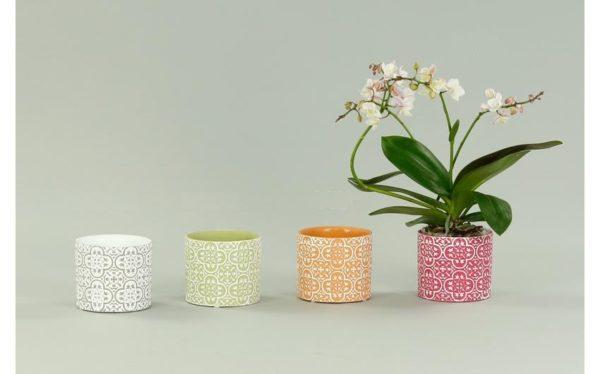 Set 3 Portavaso Cilindrico In Ceramica con Decorazione Greca