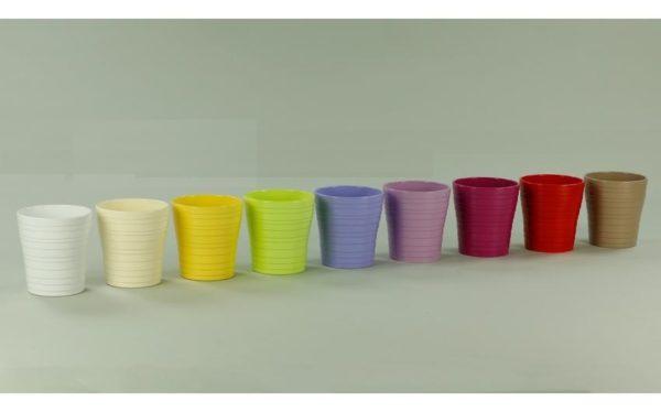 Set 3 Portavasi Orchidea In Ceramica Con Righe Orizzontali Colorati