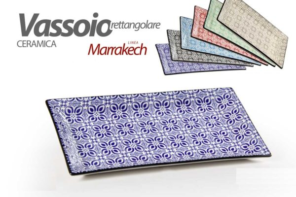 Vassoio Rettangolare In Ceramica Linea Marrakesh