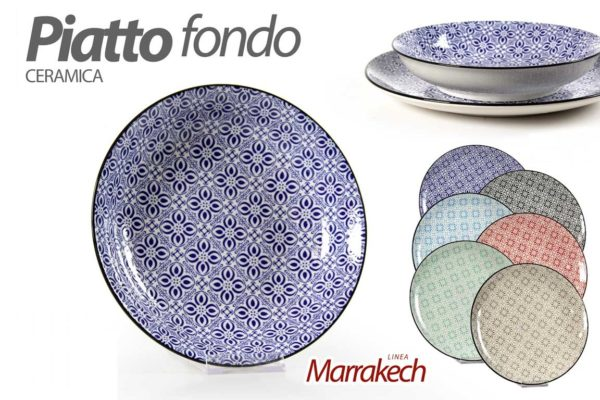 Set 6 Piatti Fondi In Ceramica Linea Marrakech