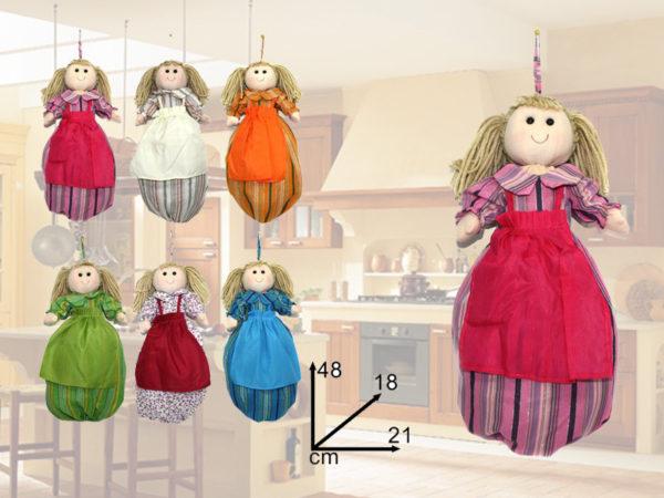 Bambola In Stoffa Da Appendere Porta Sacchetti