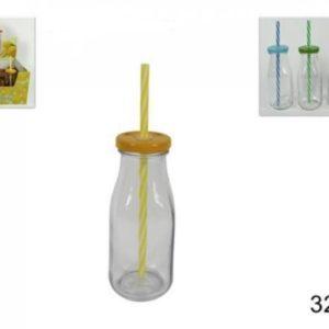 Set 4 Bottiglie In Vetro Con Tappo e Cannuccia