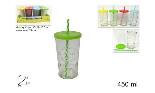 Set 4 Bicchieri In Vetro Con Tappo e Cannuccia