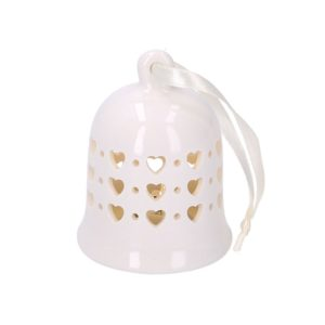 Set 4 Campanelli Bianchi Rotondi In Ceramica Con LED