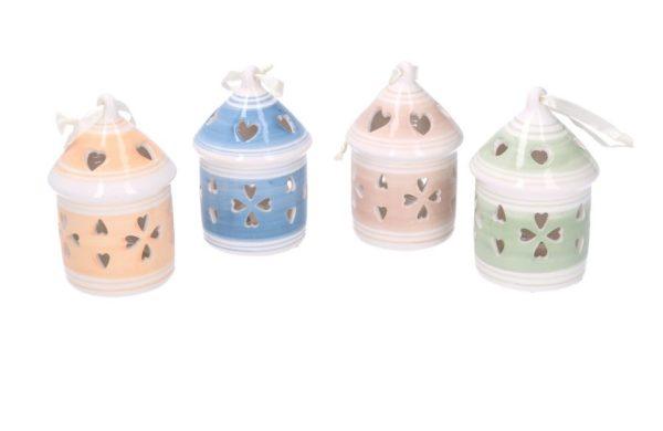 Set 4 Campanelli Rotondi In Ceramica Con LED