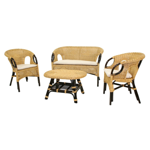 Set Salotto In Rattan Color Miele Linea Lucrezia
