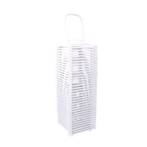 Lanterna Quadrata In Legno Bianco Con Manico