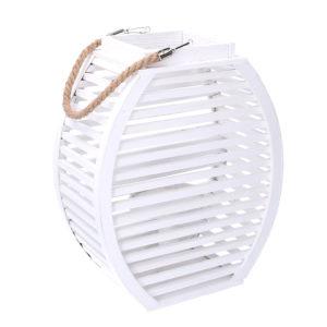 Lanterna Bassa Bianca In Legno Con Corda