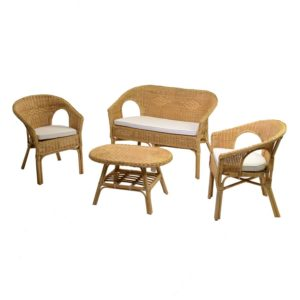 Set Salotto In Rattan Color Miele Linea Kele