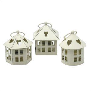 Set 3 Lanterne Bianche In Metallo Con Cuori
