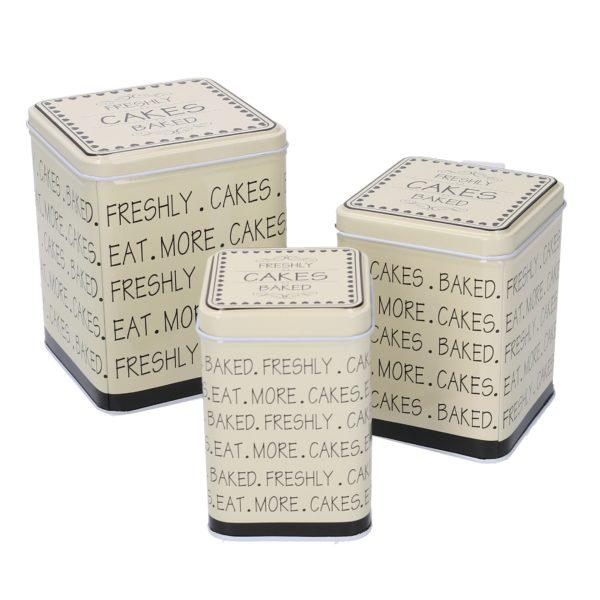 Set 3 Scatole Quadrate Bianche In Metallo Linea Cakes
