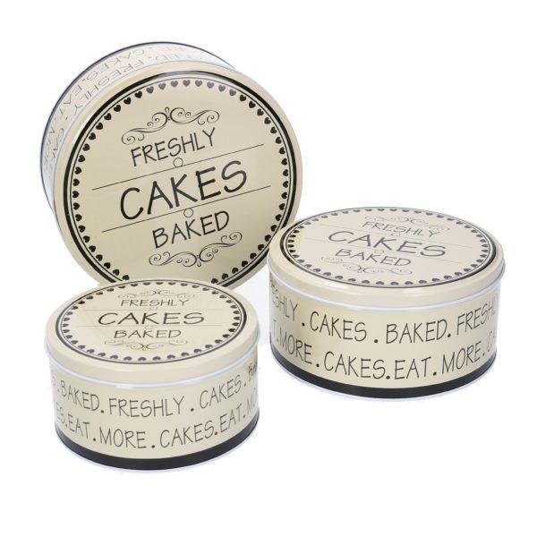 Set 3 Scatole Rotonde Bianche In Metallo Linea Cakes