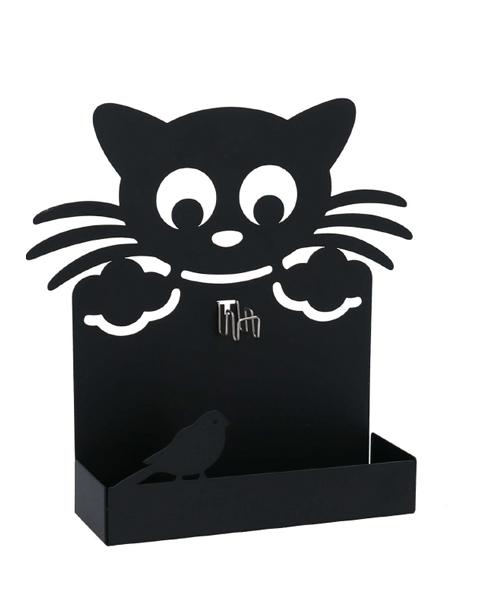 Portazampirone In Metallo Nero Forma Gatto