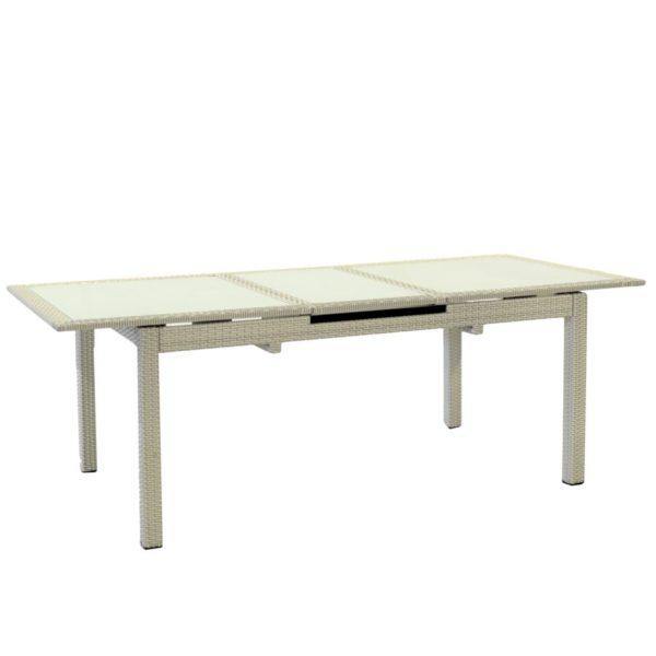 Tavolo In Polyrattan Linea Adila Color Bianco Ghiaccio