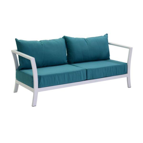Salotto In Alluminio Linea Pasadena Color Bianco Con Cuscini Turchese