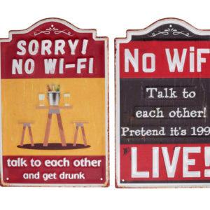 Targhetta Rettangolare Rossa In Metallo No Wi-Fi