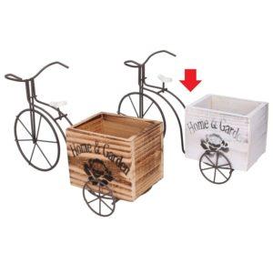Portafiori Rettangolare Modello Bicicletta In Ferro E Legno