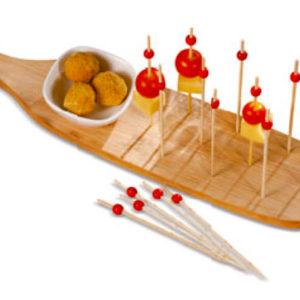 Tagliere Rettangolare In Bamboo Con Ciotola Per Finger Food