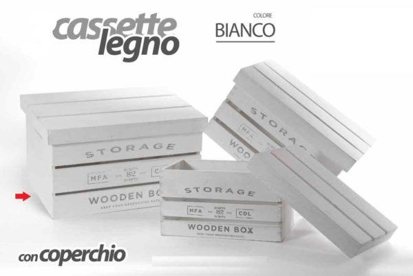 Cassetta Bianca In Legno Con Coperchio Linea Storage Grande