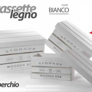 Cassetta Bianca In Legno Con Coperchio Linea Storage Media