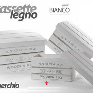 Cassetta Bianca In Legno Con Coperchio Linea Storage Piccola
