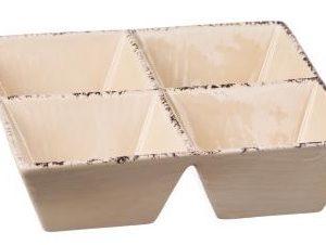 Set 3 Antipastiere In Ceramica 4 Vaschette Linea Susy
