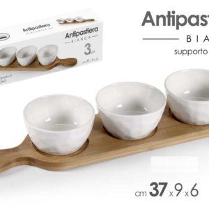 Antipastiera 3 Posti Con Base In Legno
