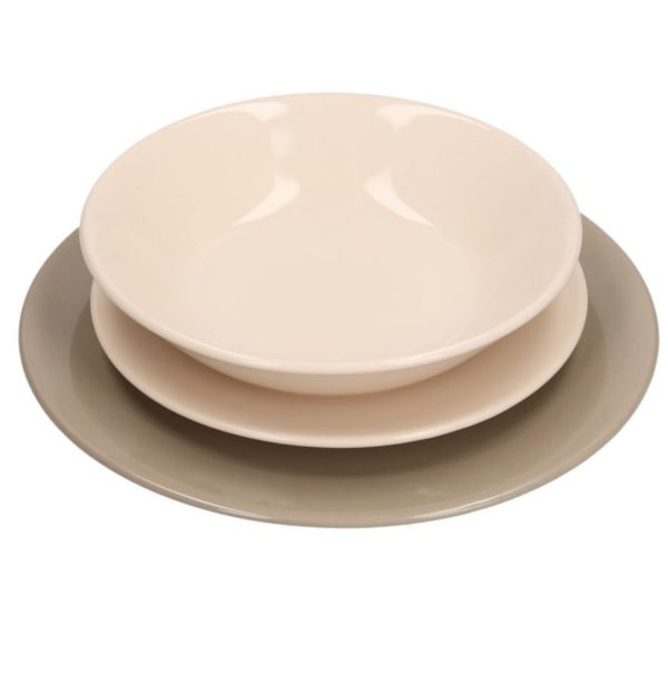 Servito Di Piatti In Ceramica 18 pz Tortora E Crema