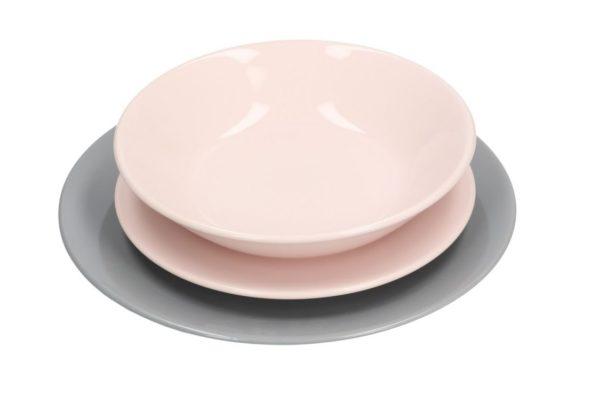 Servito Di Piatti In Ceramica 18 pz Grigio E Rosa