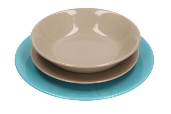 Servito Di Piatti In Ceramica 18 pz Turchese E Tortora